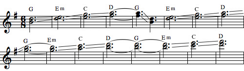Approximate singing saw melody from 'In the Aeroplane over the Sea.'