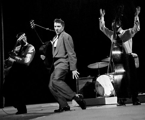 Elvis performing live on the Dorsey Brothers' Stage Show at a CBS studio in New York, 1956.