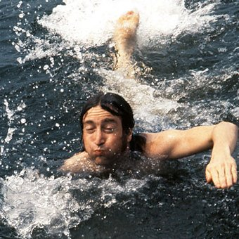 Lennon swimming in the Long Island Sound in 1974.