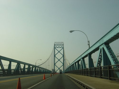 Heading to Canadia over the Ambassador Bridge
