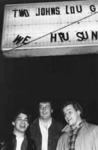 The Sinatras outside Two John's Lounge, Battle Creek, late eighties