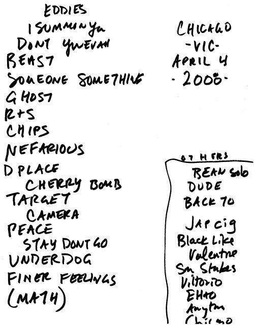 Spoon - Chicago set list